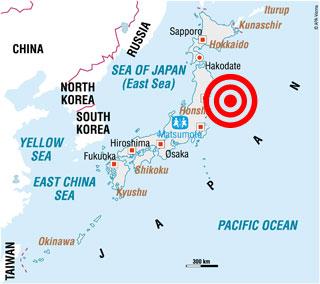 Japan Slammed By Huge Earthquake And Tsunami Wave Hits US - Japan 2011 map